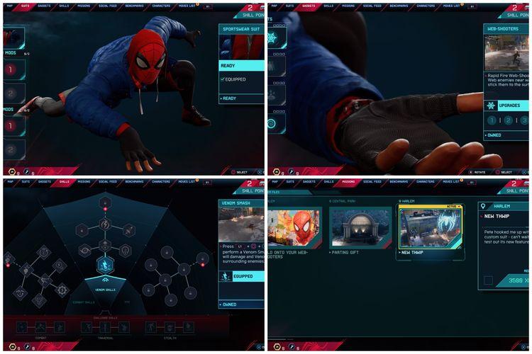 Tampilan menu di Spider-Man: Miles Morales yang lebih segar dan mulus.
