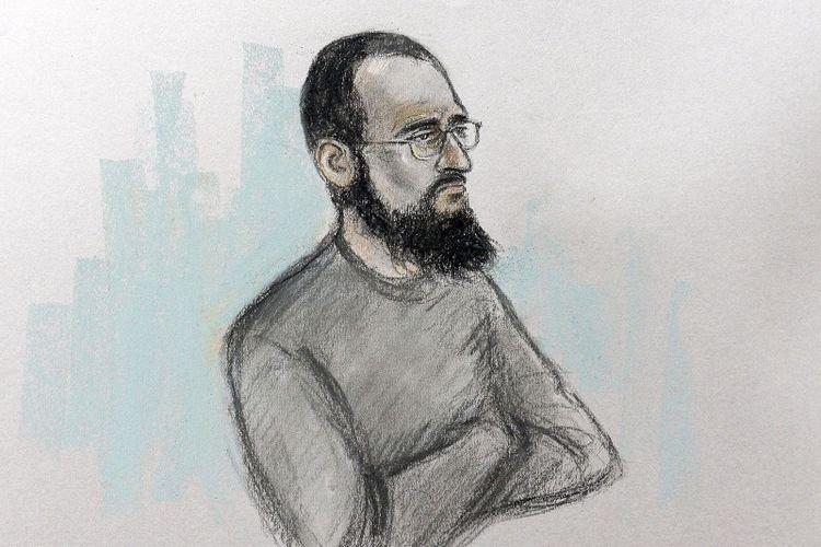 Sketsa Husnain Rashid, simpatisan ISIS yang mengaku merencanakan serangan ke putra Pangeran William dan Kate Middleton.