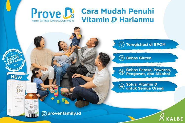 Prove D3, suplemen vitamin D untuk seluruh keluarga. (Dok. Kalbe)