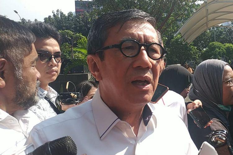 Menteri Hukum dan Hak Asasi Manusia Yasonna Laoly di Gedung Merah Putih KPK, Jakarta, Selasa (25/6/2019).