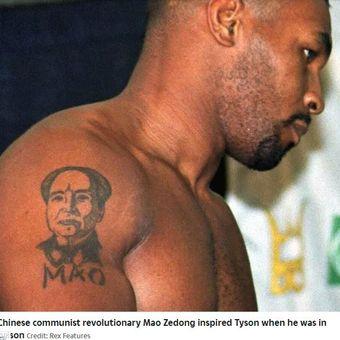 Tato Chairman Mao yang ada di lengan kanan Mike Tyson.