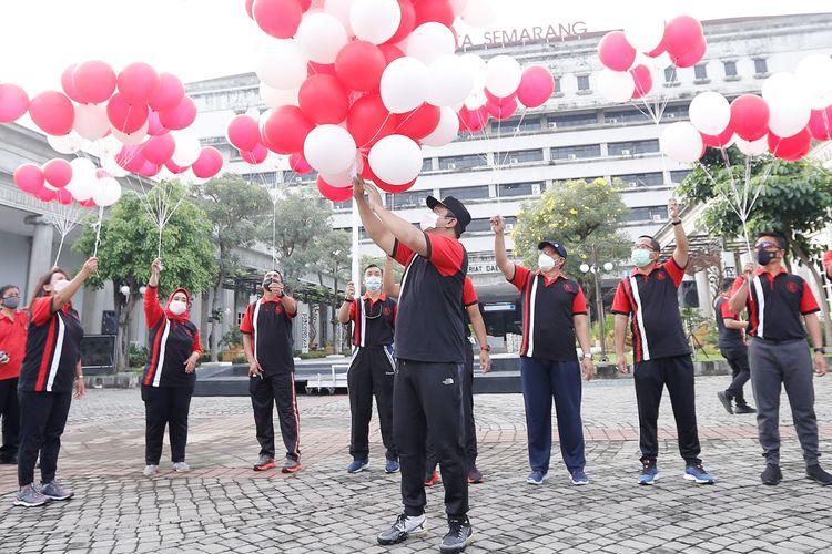 Peringatan HUT Kota Semarang 2021 yang digelar secara sederhana dan dijadikan momentum melawan Covid-19.