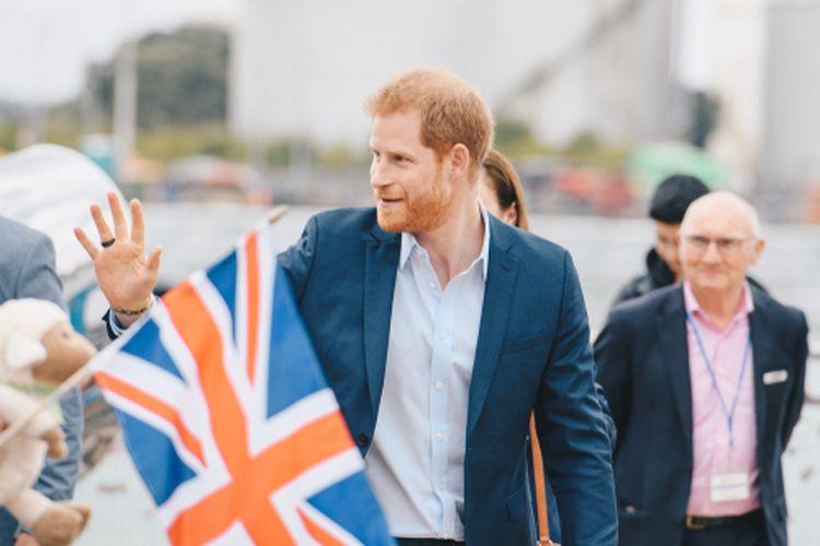 Pangeran Harry ketika mengunjungi Viaduct Harbour dalam kunjungannya ketika tur Selandia Baru di 2018.