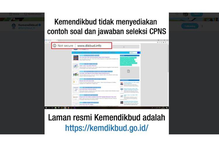 Klarifikasi Kemendikbud bahwa dikbud.info bukan laman resmi Kemendikbud.