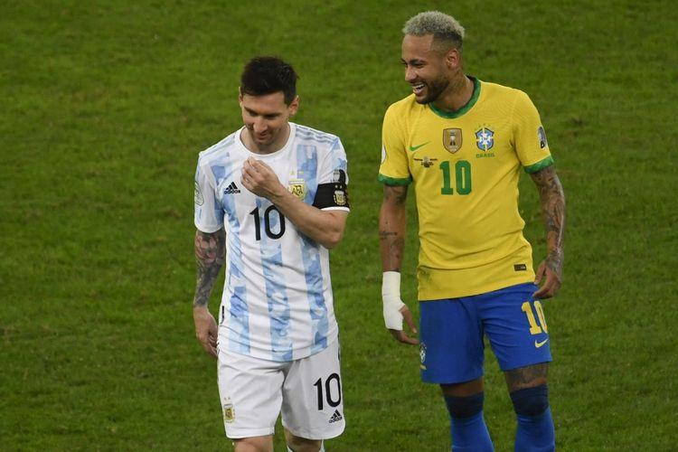 Lionel Messi dan Neymar dalam pertandingan Argentina vs Brasil di final Copa America 2021 di Stadion Maracana, Rio de Janeiro, Brasil, Minggu (11/7/2021) pagi WIB.
