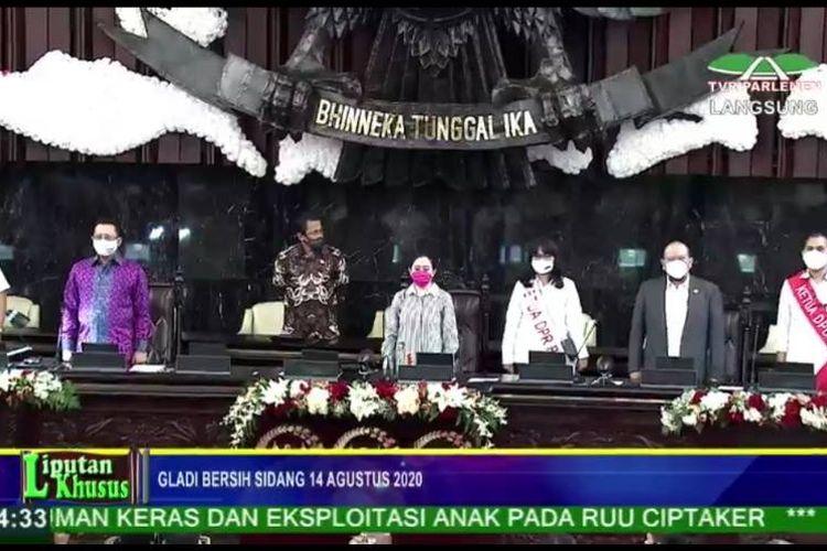 Ketua DPR Puan Maharani, Ketua MPR Bambang Soesatyo dan Ketua DPD La Nyalla Mattalitti menghadiri gladi bersih Sidang Tahunan MPR, Kamis (13/8/2020)