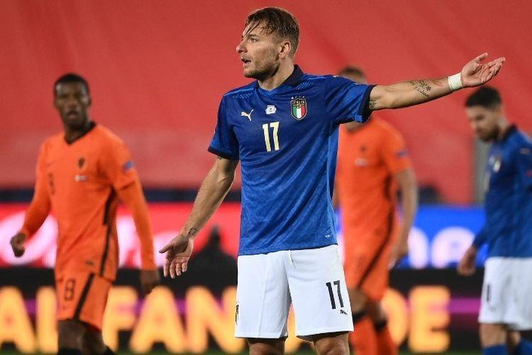 Ciro Immobile beraksi pada laga UEFA Nations League antara Italia dan Belanda di Stadion Atleti Azzurri dItalia, Bergamo, pada Kamis (15/10/2020) dini hari WIB.