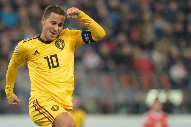 Penyerang Belgia, Eden Hazard, berselebrasi atas gol yang diciptakannya dalam pertandingan Grup I Kualifikasi Piala Eropa 2020 antara Rusia vs Belgia di Gazprom Arena, Saint Petersburg, pada 16 November 2019.