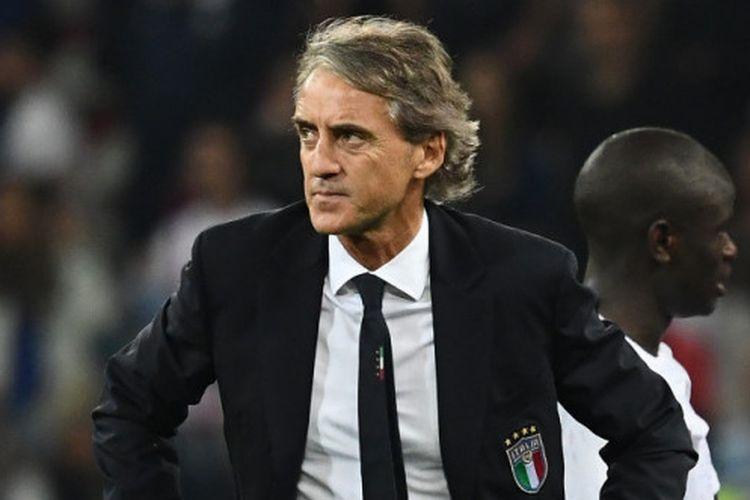 Ekspresi pelatih Italia, Roberto Mancini, setelah timnya dikalahkan Prancis dalam laga persahabatan di Stadion Allianz Riviera, Nice, Prancis pada 1 Juni 2018.
