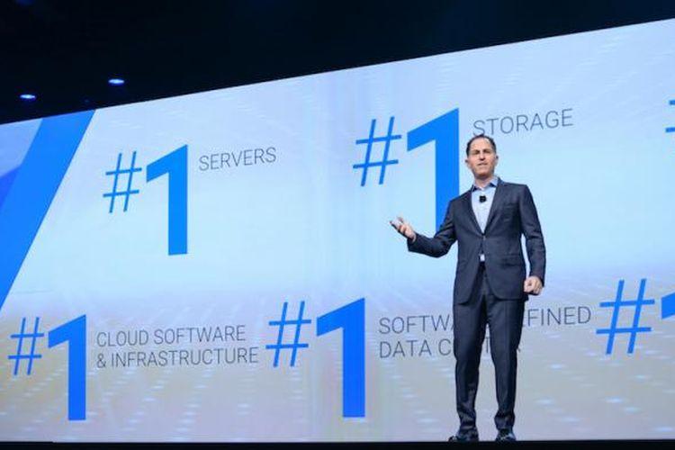 Pendiri dan CEO Dell Technologies, Michael Dell, saat membuka ajang Dell EMC World 2016, di Austin Convention Center, Austin, Texas, Amerika Serikat, Rabu (19/10/2016). Ini adalah event pertama setelah Dell mengakuisisi EMC.