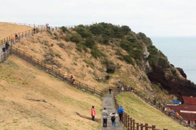 Wisatawan di Pulau Jeju, Korea Selatan.