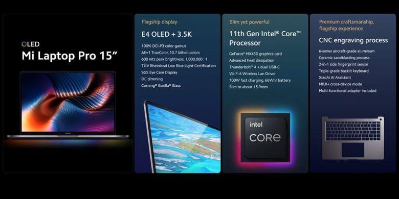 Fitur dan spesifikasi Mi Laptop Pro 15 inci.