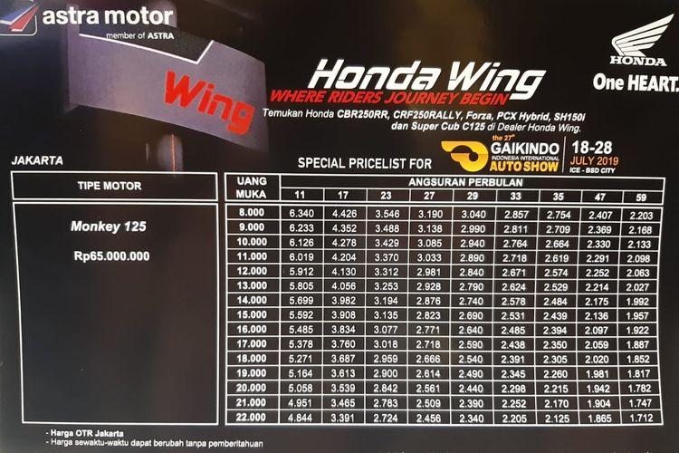Skema Cicilan Honda Monkey