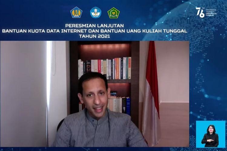 Menteri Pendidikan, Kebudayaan, Riset, dan Teknologi, Nadiem Anwar Makarim  memaparkan program bantuan lanjutan kuota data internet untuk bulan September, Oktober, dan November 2021, dalam konferensi pers virtual yang digelar pada Rabu (4/8/2021).