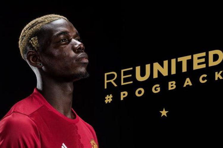 Foto pengumuman transfer Paul Pogba ke Manchester United yang terpampang di situs klub tersebut, Senin (9/8/2016).
