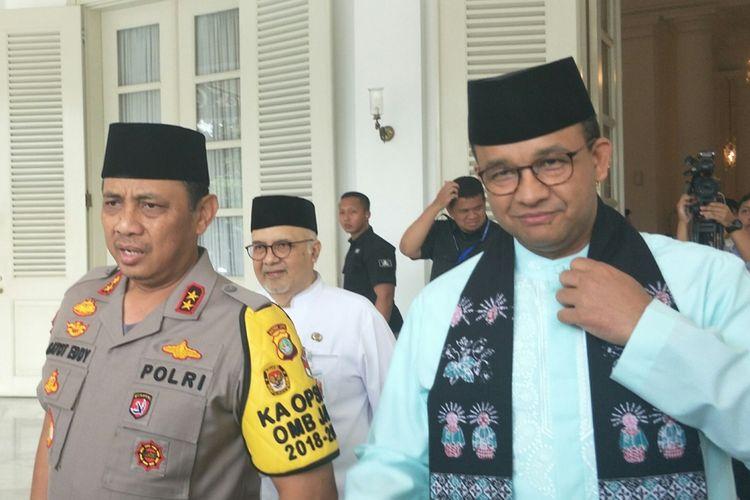 Kapolda Metro Jaya Irjen Gatot Eddy Pramono dan Gubernur DKI Jakarta Anies Baswedan di Balai Kota DKI Jakarta, Jalan Medan Merdeka Selatan, Jumat (27/9/2019).