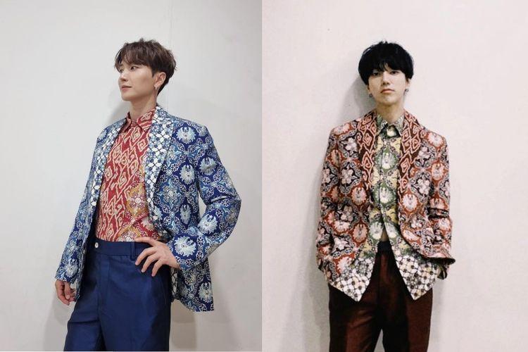 Member Super Junior Leeteuk dan Yesung mengenakan batik dari Batik Komar hasil desain Gubernur Jawa Barat Ridwan Kamil.