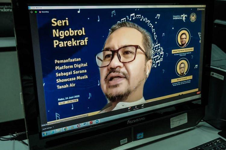 Plt) Deputi Bidang Ekonomi Digital dan Produk Kreatif Kemenparekraf/Baparekraf Josua Simanjuntak dalam acara Webinar Pemanfaatan Platform Digital Sebagai Sarana Showcase Musik Tanah Air, Rabu (24/6/2020).