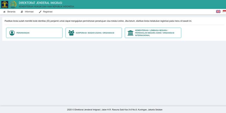 Tangkapan layar cara mengajukan permohonan visa kunjungan offshore di situs visa-online.imigrasi.go.id milik Direktorat Jenderal Imigrasi, Selasa (29/9/2020).