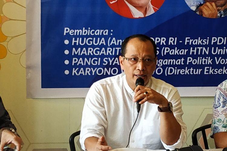 Direktur Eksekutif Indonesia Political Institute (IPI), Karyono Wibowo, dalam diskusi membahas larangan mantan narapidana korupsi ikut pilkada di Cikini, Jakarta Pusat, Rabu (13/11/2019).
