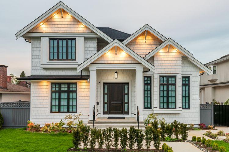 Ilustrasi rumah, eksterior rumah.