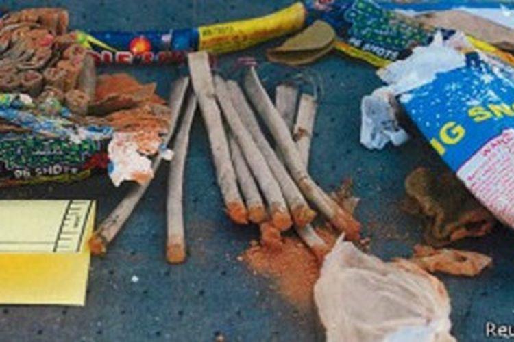 Peralatan peledak yang digunakan oleh Tsarnaev bersaudara.