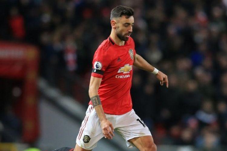 Bruno Fernandes kala menjalani debut bersama Manchester United pada lanjutan pekan ke-25 Liga Inggris, Minggu (2/2/2020) dini hari WIB.