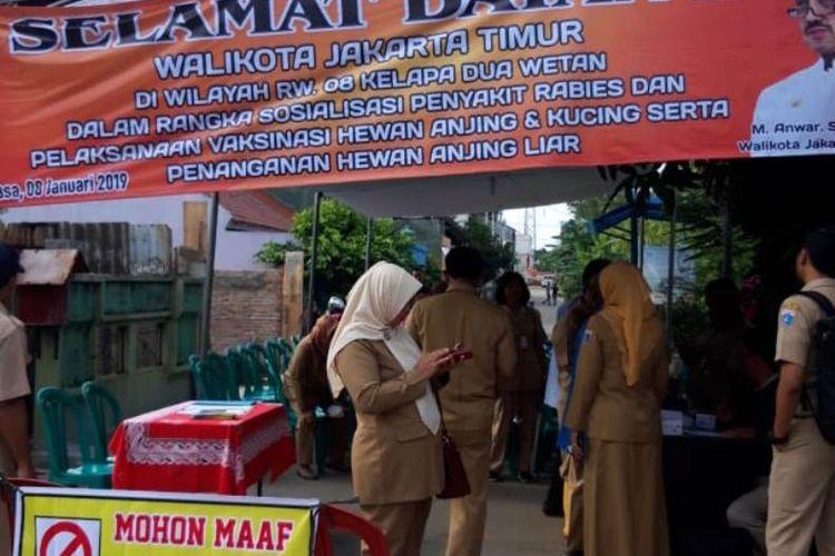 Sosialisasi hewan penular rabies di Jakarta Timur, Selasa (8/1/2019).
