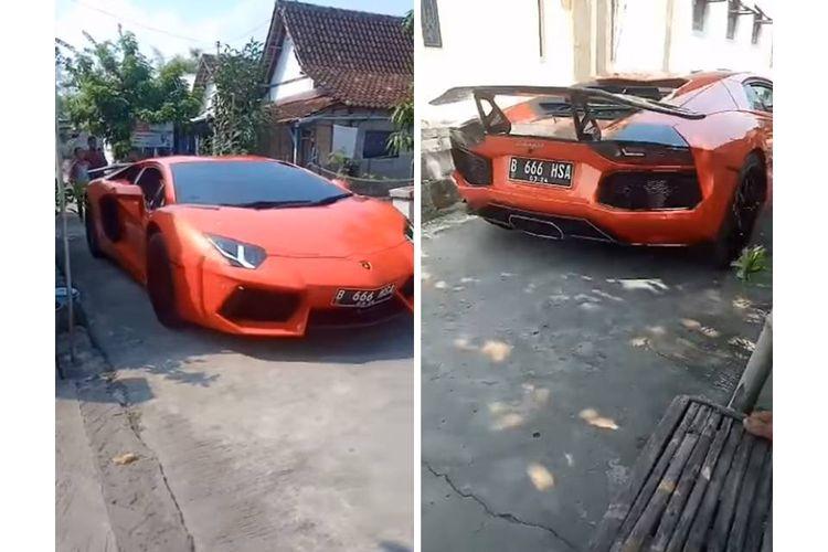 Tangkapan layar sebuah video yang menampilkan mobil Lamborghini Aventador blusukan ke jalanan kampung di Lamongan, Jawa Timur.