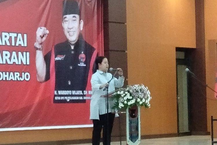 Ketua DPP PDI-P Bidang Politik dan Keamanan, Puan Maharani di Sukoharjo, Jawa Tengah, Rabu (18/12/2019).