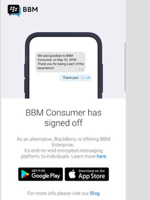 Layar login aplikasi BBM Android pada 31 Mei 2019 menampilkan pemberitahuan soal penutupan layanan BBM dan saran untuk beralih menggunakan BBM Enterprise.