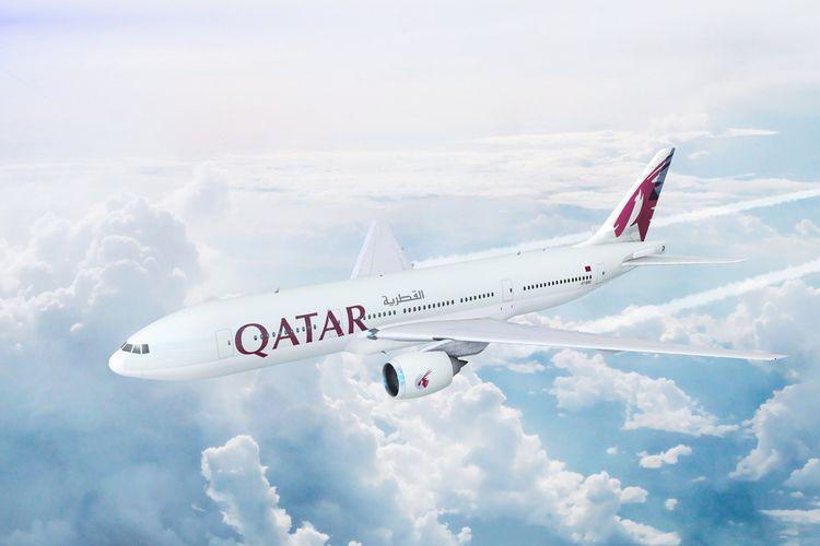 Ilustrasi pesawat milik maskapai penerbangan Qatar Airways.