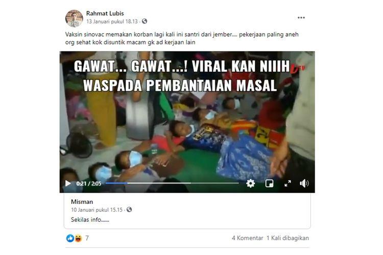 Tangkapan layar unggahan yang menyebut santri di Jember, Jawa Timur menjadi korban vaksin Sinovac.