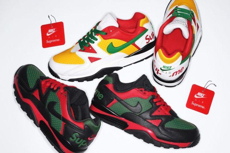 Nike x Supreme Cross Trainer Low akan hadir dalam dua variasi warna, hitam/hijau tua/university red dan putih/hijau pinus/university gold.