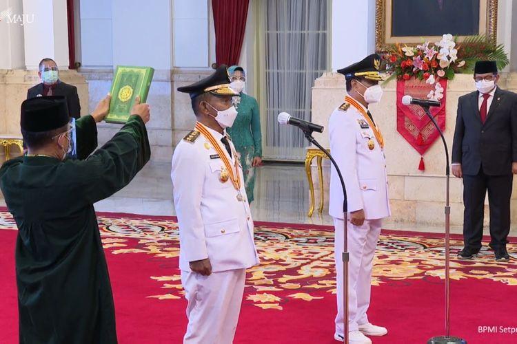 Foto tangkapan layar YouTube Sekretariat Presiden: Presiden Joko Widodo melantik Gubernur dan Wakil Gubernur Sulawesi Tengah, masa jabatan 2021-2024, Rusdi Mastura-Ma'mun Amir, Rabu (16/6/2021).