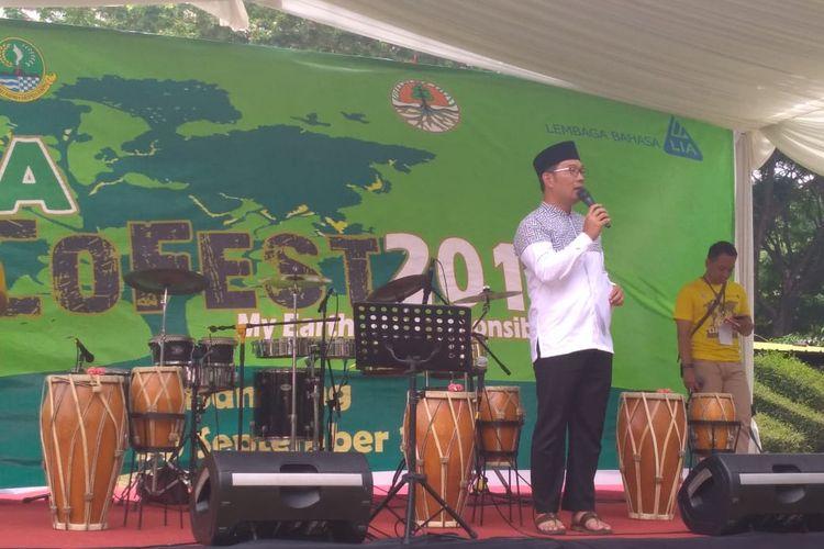 Gubernur Jawa Barat Ridwan Kamil dalam acara LIA Eco Fest 2019 di Bandung.