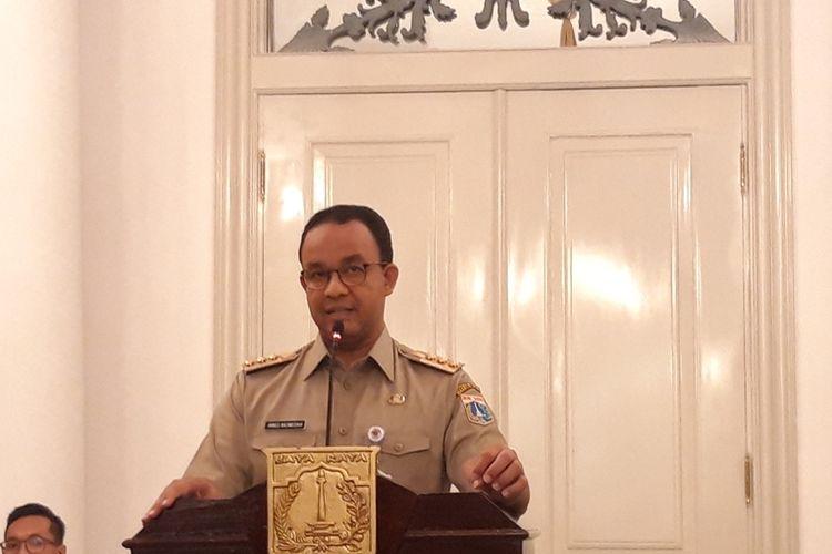 Gubernur DKI Jakarta Anies Baswedan saat konferensi pers dua tahun kepemimpinnya di Balairung, Balai Kota, Jakarta Pusat, Selasa (15/10/2019)