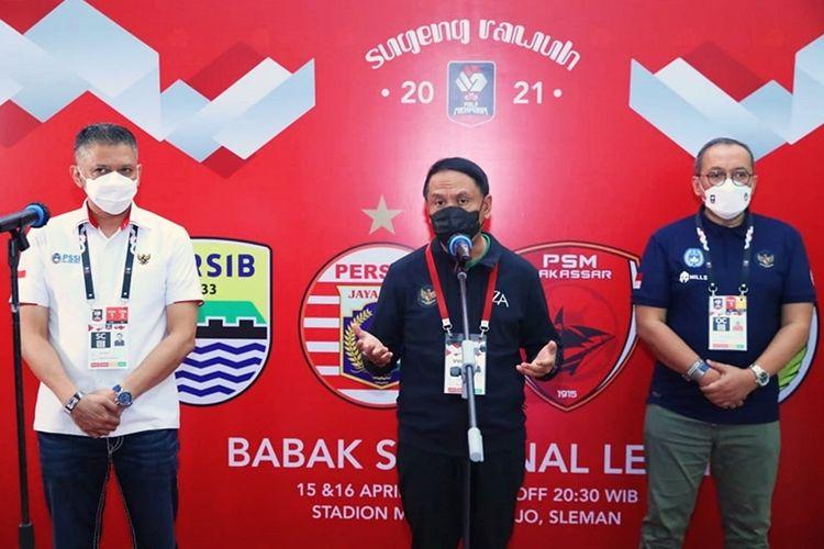 Menteri Pemuda dan Olahraga (Menpora) Zainudin Amali dalam konferensi pers sebelum menyaksikan pertandingan semifinal PS Sleman melawan Persib Bandung di Stadion Maguwoharjo, Sleman, Yogyakarta pada pada Jumat (16/4/2021).