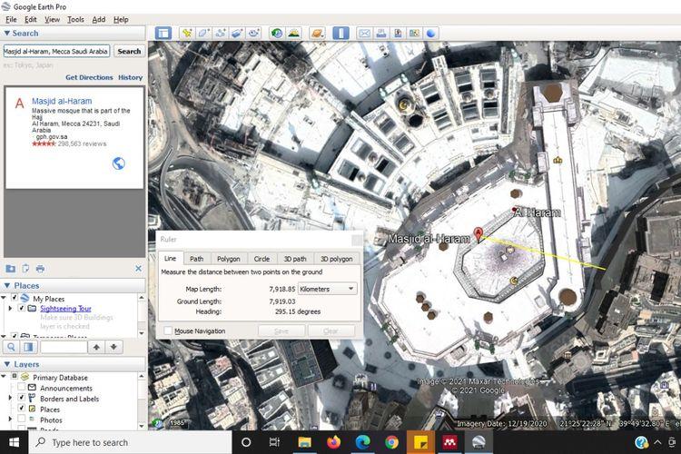 Tampilan Masjidil Haram di Google Earth
