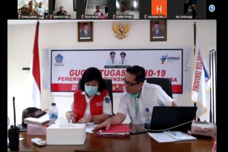 Ketua Satgas Covid-19 Sulut Debbie Kalalo didampingi Juru Bicara Steven Dandel saat memberikan keterangan pers via aplikasi Zoom, Rabu (8/4/2020) malam.