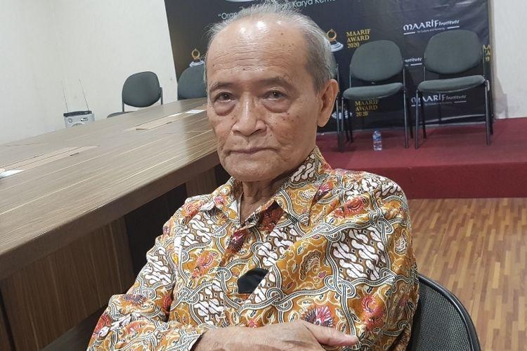 Pendiri Maarif Institute Buya Maarif saat ditemui di Kantor Maarif Institute, Tebet, Jakarta Selatan, Rabu (18/12/2019).