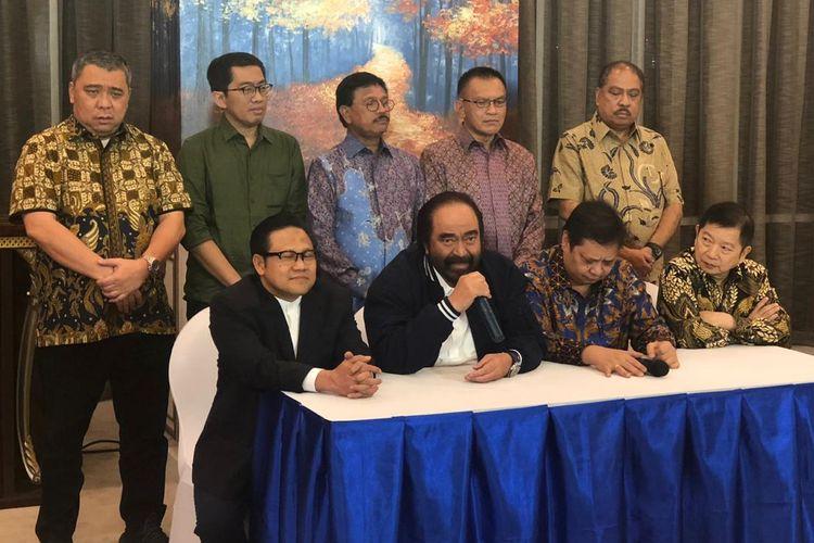 Ketua Umum Partai Nasdem, Surya Paloh, di kantor DPP Nasdem, Jakarta Pusat, Senin (22/7/2019).