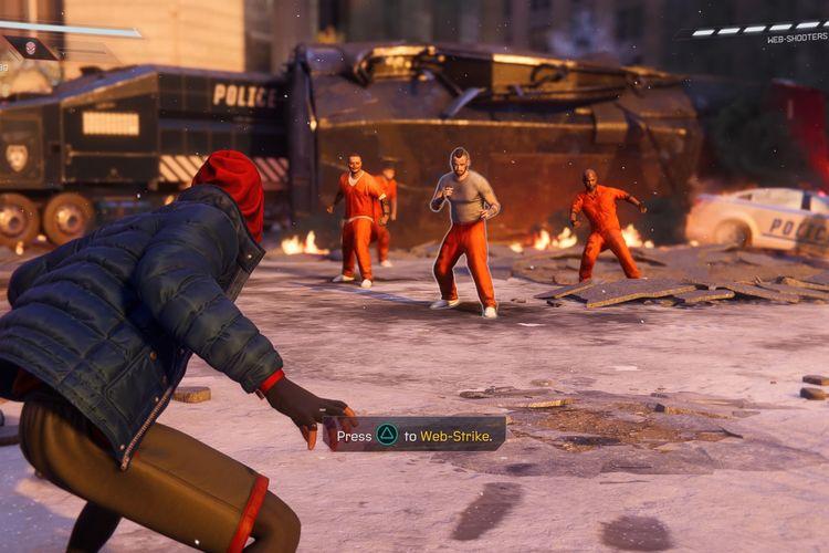 Tampilan gameplay pertarungan pertama di Spider-Man: Miles Morales.