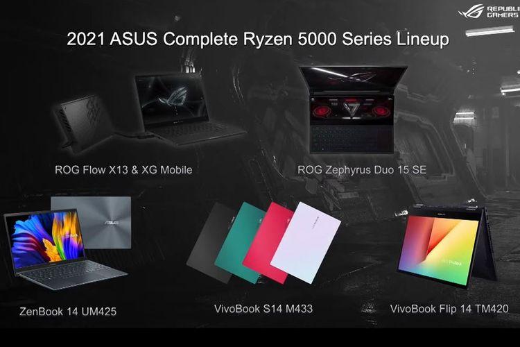 Deretan laptop Asus yang akan menggunakan prosesor AMD Ryzen 5000 Series di Indonesia.