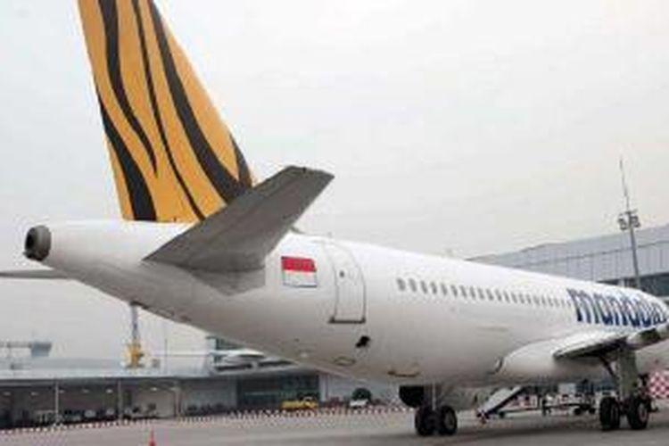 Pesawat Airbus A320 Tigerair Mandala terbaru atau kedelapan di Bandara Soekarno-Hatta, Jumat (7/6/2013).