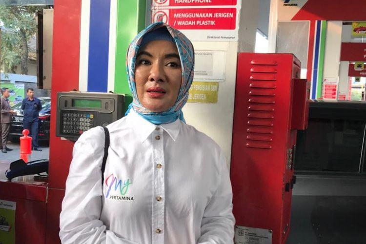 Direktur Utama PT Pertamina Nicke Widyawati di Jakarta, Senin (3/9/2018).