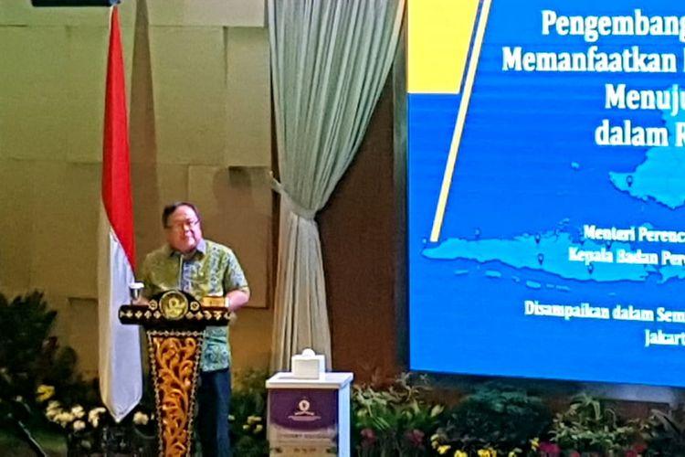 Menteri Bappenas Bambang Brodjonegoro dalam Seminar Nasional Lemhanas RI 2019 di Gedung Lemhanas, Jakarta Pusat, Jumat (20/9/2019).