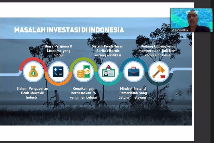 Diskusi virtual bertajuk ?RUU Cipta Kerja Kepastian Kerja dan Investasi?, Jumat (10/7/2020).