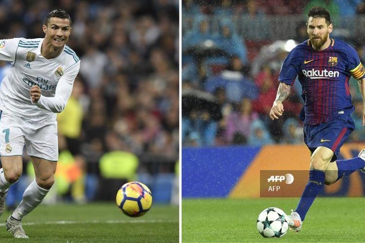 Kombinasi foto Cristiano Ronaldo (Real Madrid) dan Lionel Messi (Barcelona).