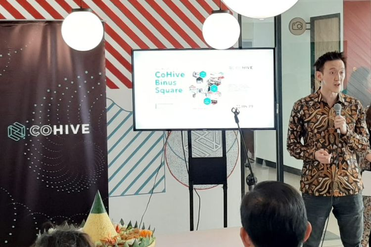 Co-founder and CEO CoHive Jason Lee dalam peresmian coworking space CoHive di Binus Square, Jakarta, Kamis (22/8/2019).